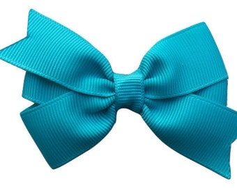 3 inch turquoise hair bow - turquoise bow, 3 inch hair bows, hair bows, girls bows, girls hair bows, baby bows, toddler bows, pinwheel bows