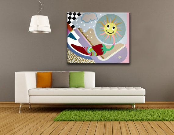 Pop Art Painting Original Canvas Art, Unique Acrylic Abstract Art Painting, Joy and Pain are like Sunshine and Rain Modern Wall Art Decor