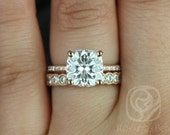 Heidi 9mm & Cordelia 14kt Rose Gold Cushion FB Moissanite and Diamond Basket Wedding Set (Other metals and stones available)