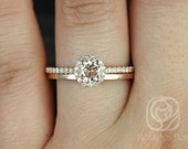 Amanda 5mm & Plain Barra 14kt Rose Gold Round Morganite and Diamonds Halo Wedding Set (Other metals and stone options available)