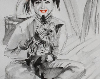 SALE. Doggie and Little Girl ART. Black and White art. Original Watercolor by Nataly Basarab. Not print. Modern Art