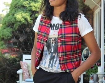 Red Plaid vest checkered waistcoat checks jacket coat armless jacket bohemian men women unisex S Small