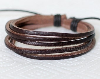 152 Men's brown leather bracelet Leather bands bracelet Leather cords bracelet Men leather jewelry Gift for men & women