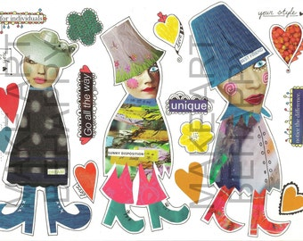 Collage sheet, journal sheet, quirky characters, mixed media dolls nr D02