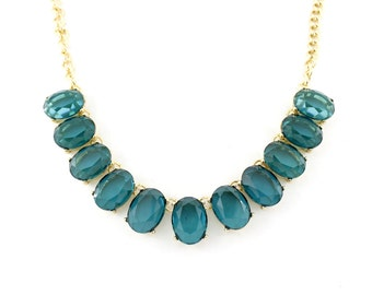 Gold Tone Transparent Dark Green Statement Necklace and Earrings