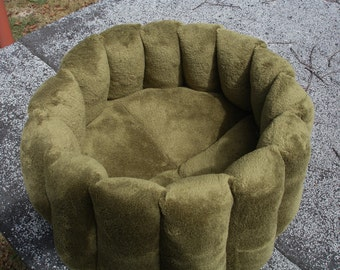 Cat bed, pet bed, dog bed, olive green, deep bed, round bed, cup bed, kitty bed, kitten bed, puppy bed, machine washable, small dog bed