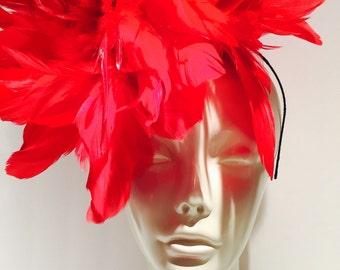 Red Fascinator- Kentucky Derby Hat- Red Feather Fascinator- Handmade in USA -Red Headpiece -Steampunk- Derby- Wedding-Ascot-Mardi Gras