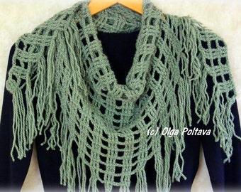 Triangular Scarf Crochet Pattern, Winter Shawl, Crochet Scarf Pattern, Instant PDF Download