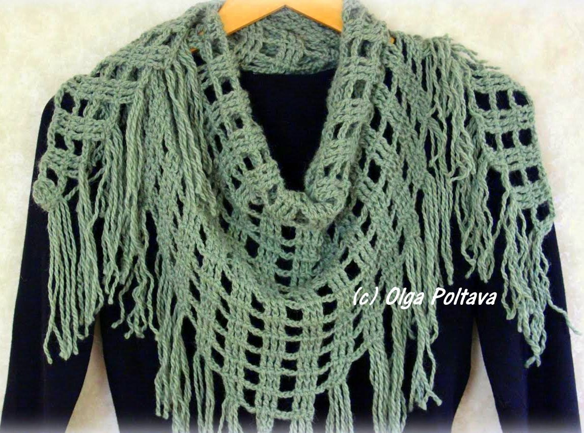 Triangular Scarf Crochet Pattern Winter Shawl Crochet Scarf