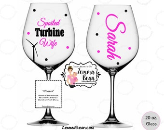 Wind turbine - Spoiled Turbine Wife wine glass