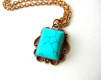 Turquoise Magnesite Necklace - Bohemian Howlite Necklace - Gemstone Necklace