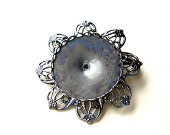 Vintage Filigree Pin Blanks - Jewelry Findings - Silver Tone Pin Blank - 28mm - Holds 28 mm Stone - Brooch Blank - Stone Setting