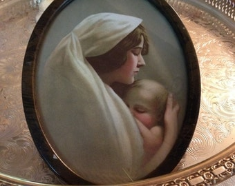 Antique oval framed  madonna with child antique metal frame shanby chic baby print vintage madonna by herminas cottage