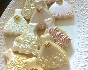 100 Pieces Petite Sized Wedding Dress Cookies