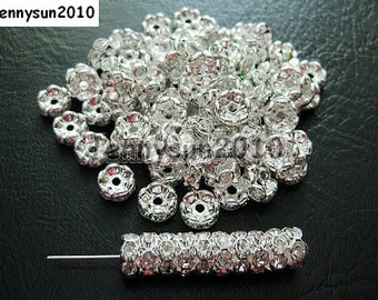 100Pcs Clear on Silver Czech Crystal Rhinestone Wavy Rondelle Spacer Beads 4mm 5mm 6mm 8mm 10mm
