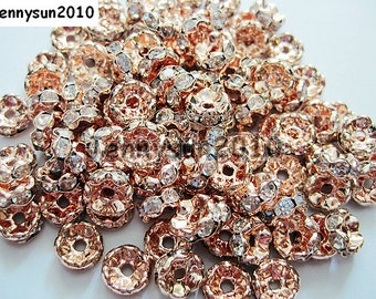100Pcs Clear on Rose Gold Czech Crystal Rhinestone Wavy Rondelle Spacer Beads 4mm 5mm 6mm 8mm 10mm