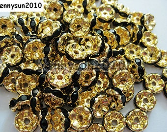 100Pcs Jet Black on Gold Czech Crystal Rhinestone Wavy Rondelle Spacer Beads 4mm 5mm 6mm 8mm 10mm