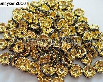 100Pcs Black Diamond on Gold Czech Crystal Rhinestone Wavy Rondelle Spacer Beads 4mm 5mm 6mm 8mm 10mm