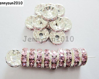 100pcs Top Quality Light Pink Czech Crystal Rhinestones Silver Rondelle Spacer Beads 4mm 5mm 6mm 8mm 10mm