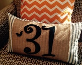 "Halloween ""31"" Rectangular Pillow on Burlap and Black/Off-White Stripe"