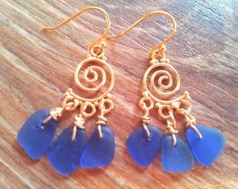 Sea Glass Earrings Jewelry 14k Gold Filled Mermaid's Tears Cobalt Blue
