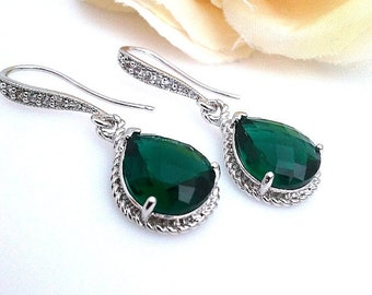 Emerald Erarings ,wedding Jewerly, drop earrings, Emerald dangle earrings, wedding gift, Christams earrings, Christmas Gifts