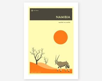 NAMIBIA TRAVEL POSTER (Giclée Fine Art Print/Photo Print/Poster Print) by Jazzberry Blue