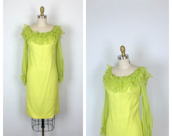 60s Celadon Green Silk Chiffon Shift Dress • 1960s Lime Green Mod Sheath Dress • Long Sleeve • Small • Medium