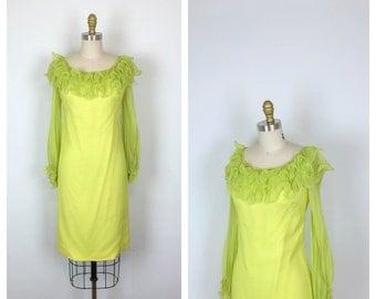 60s Celadon Green Silk Chiffon Shift Dress • 1960s Lime Green Mod Sheath Dress • Long Sleeve • Small • Medium