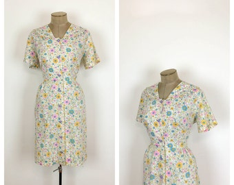 60s Pastel Floral Cotton Shirtwiast Day Dress • 1960s Shirt Waist House Dress • 50s Short Sleeve Button up Dress • Large • XL