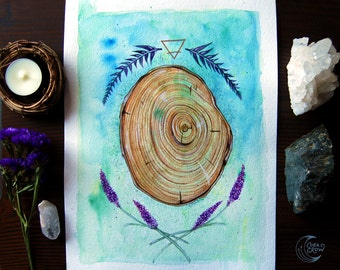 Earth Element - 9x12, Watercolor, Illustration, Wood, Lavender, Tree Rings, Nature, Alchemy, Symbolism, Occult