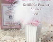 MARABOU Feather Refillable Glass Powder Shaker Set, Refillable Bath Powder Puff, Glass Shaker with Dusting Powder and Gift Box