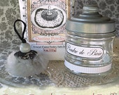 Petite Bath Powder Jar SET, Small Dusting Powder Puff and Powder Jar (powder puff, jar, dusting powder, sifter) GIFT Boxed