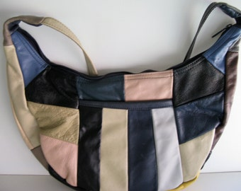 Vintage LEATHER HANDBAG/Patch Work Design/Shoulder Purse/Retro Leather Handbag/Modern Purse/Leather Shoulder Bag/Multi Colored Handbag/Bags