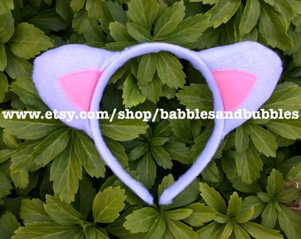 Comfortable White and Pink Cat Ears - White Lamb Ears Headband Halloween Costume - Cat Ears Cosplay - NEXT DAY SHIPPING!