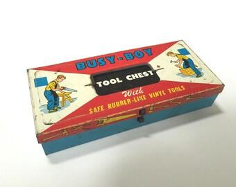 VINTAGE Busy Boy Tool Chest Box - Metal - Toy Box - Boys Room Decor - The Ohio Art Company