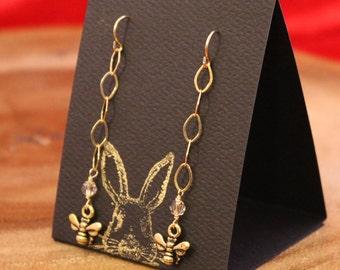 Golden Bee dangle earrings