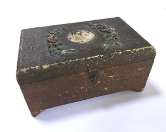 Vintage Barbola Gesso Box - Roses Flowers Floral - Keepsake Box 1880's - Wood Wooden - Old Photo - Ornate - Shabby Cottage Chic