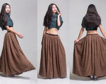 faux fur skirt thick skirt  autumn skirt winter skirt  long skirt brown skirt wool skirt wool dress winter dress