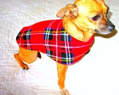 Fleece Coat for Small Dog Red Tartan, Neck Velcro Optional, Customize to Fit Chihuahua Pomeeranian or Teacup Doggy Size