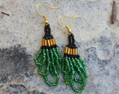 Green, gold and black glass hand-beaded earrings with drop loops