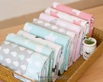 "Quilting Cotton Fabric/ Light Pink Aqua Blue Cotton With White Grey Raindrop Cloud Stars - 1/2 yard 18""X63"""