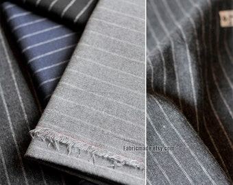 Stripe Fabric, Stripe Cotton Fabric, Navy Blue Black Grey Gray Wide Stripe Cotton - 1/2 yard 5 color available