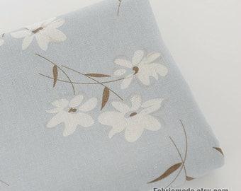 White Flower Cotton Linen Fabric on Light Grey Blue Linen-  1/2 yard