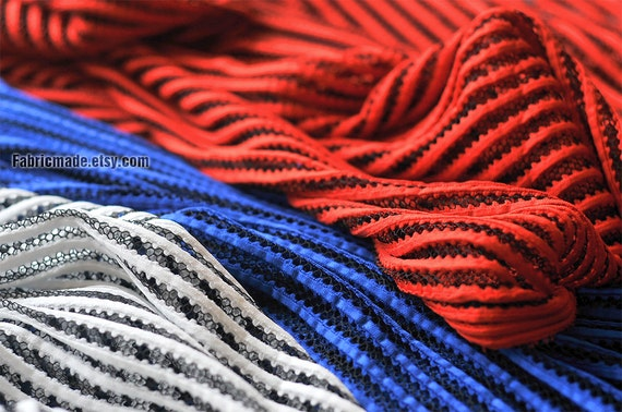 Netting Kint Fabric, Hollowed Soft Stripes Fabric In White Red Royal Blue for Creative Costume Designer - 1/2 yard