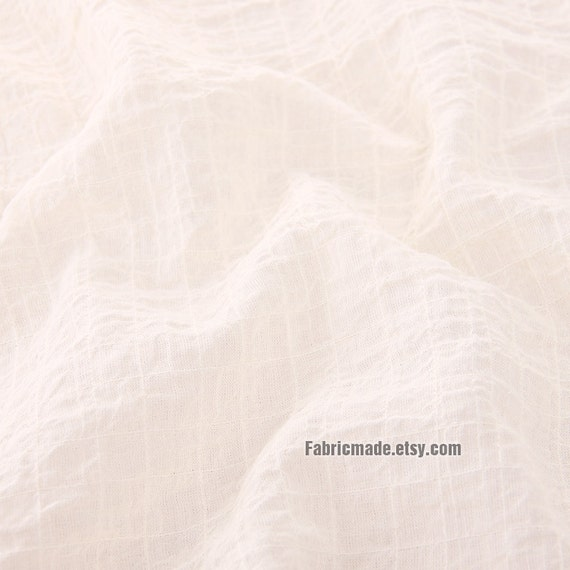 Pastel Pink Cream Cotton Fabric, Soft Light Pink Cream Cotton With Jacquard Plaid- 1/2 yard