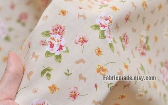 Shabby Chic Floral Fabric, Pink Flower Cotton Fabric For Clothes Quilting-  1/2 Yard 45cm x 155cm