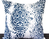 Pillow, Throw Pillow, Pillow Cover, Cushion, Decorative Pillow, Premier Navy Blue White Manchester paisley