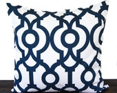 Pillow, Throw Pillow, Pillow Cover, Cushion, Decorative Pillow, Premier Navy Blue White Lyon scroll