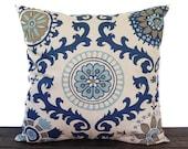 Navy Indigo Blue pillow cover, throw pillow, one navy and oatmeal cushion cover pillow sham Rosa modern home decor